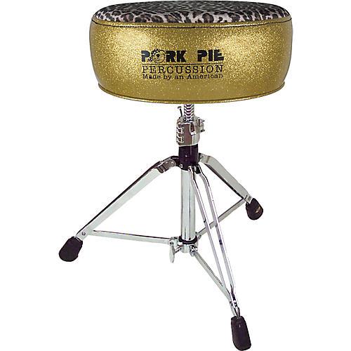 Pork Pie Round Drum Throne Gold with Leopard Top