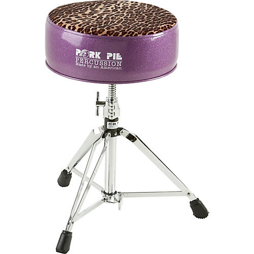 Pork Pie Round Drum Throne Purple with Leopard Top