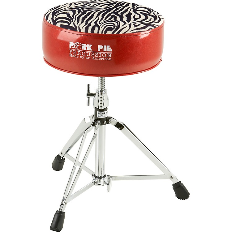 Pork Pie Round Drum Throne Red with Zebra Top