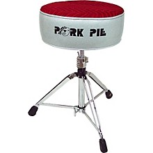 Pork Pie Round Drum Throne Silver Sparkle with Red Swirl Top