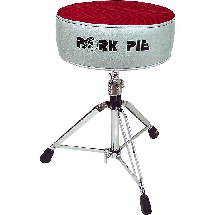 Pork PieRound Drum ThroneSilver Sparkle with Red Swirl Top