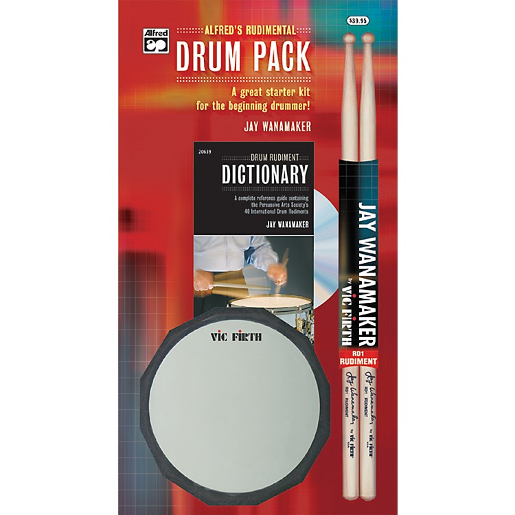 Alfred Rudimental Drum Pack Handy Guide CD Drum Pad & Sticks