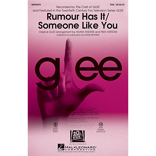 Hal Leonard Rumour Has It/Someone Like You (Choral Mash-up from Glee) SSA by Adele arranged by Adam Anders