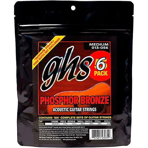 GHS S335 Phosphor Bronze Medium Acoustic Guitar Strings 6-Pack-thumbnail