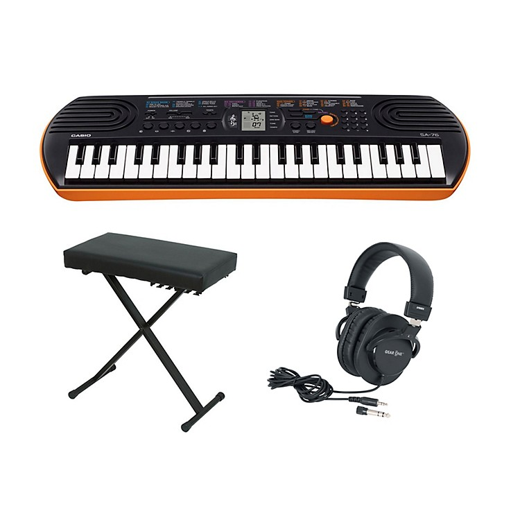 Casio SA-76 Keyboard with Bench and Headphones Orange