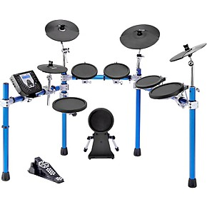 simmons sd1500 electronic drum set with blue metallic rack musician 39 s friend. Black Bedroom Furniture Sets. Home Design Ideas