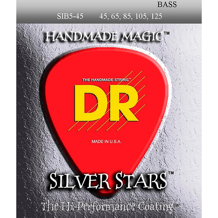 DR Strings SIB-45-125 Silver Stars Coated 5 String Bass Guitar Strings