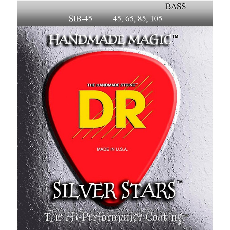 DR Strings SIB-45 Silver Stars Coated 4 String Medium Bass Guitar Strings