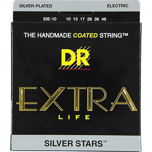 DR Strings SIE-10 Silver Stars Coated Medium Electric Guitar Strings-thumbnail