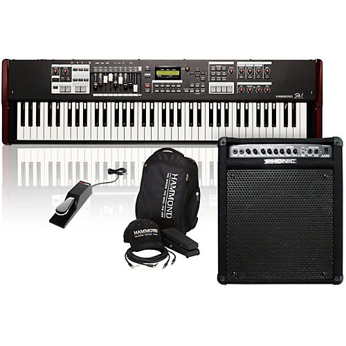Hammond SK1-73 73 Key Digital Stage Keyboard and Organ with Keyboard Accessory Pack, MK50 Keyboard Amplifier, and Sustain Pedal-thumbnail