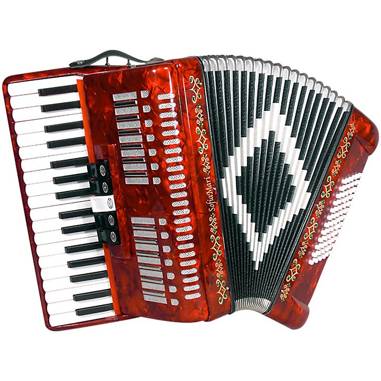 SofiaMari SM 3472 34 Piano 72 Bass Button Accordion Red Pearl