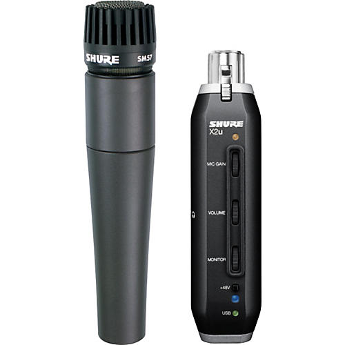Shure SM57 Microphone with X2u XLR-to-USB Adapter Bundle