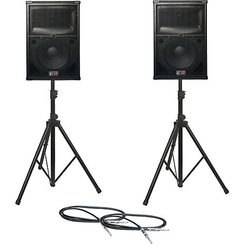 Peavey SP 2 Speaker Pair with Stands and Cables-thumbnail