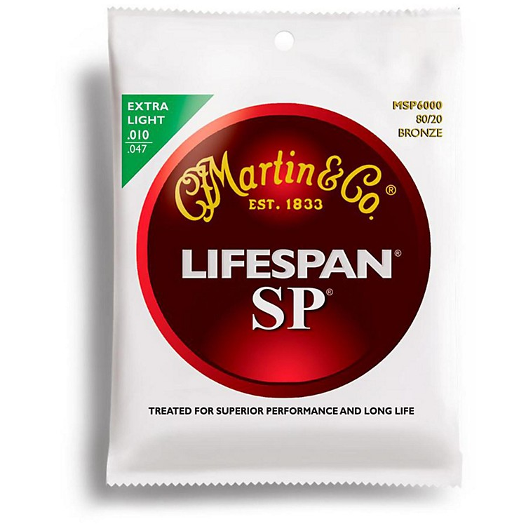 Martin SP 6000 80/20 Bronze Lifespan Coated Acoustic Guitar Strings Extra Light