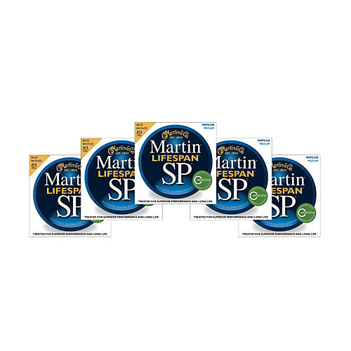 Martin SP 6200 80/20 Bronze Lifespan Coated Acoustic Strings Medium Regular (5 Pack)
