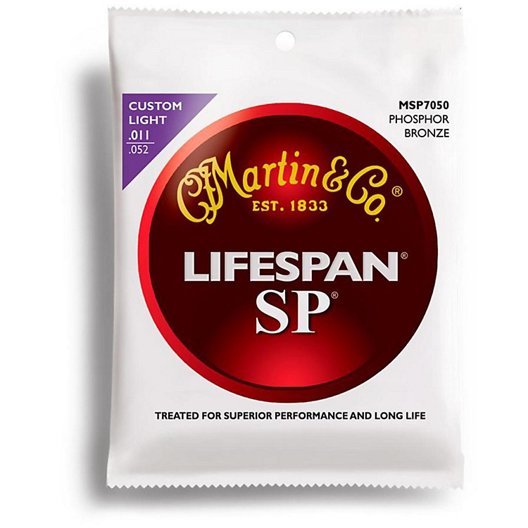 Martin SP 7050 Phosphor Bronze Lifespan Coated Acoustic Strings Custom Light