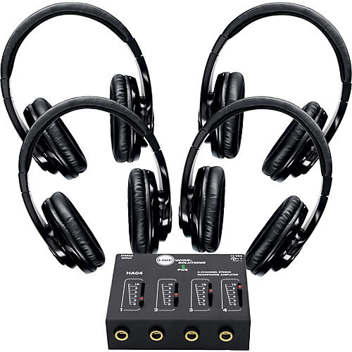 Shure SRH240 Four Pack with HA04 Headphone Amp-thumbnail