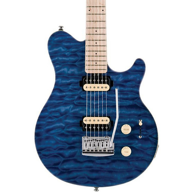 Sterling by Music Man SUB AX3 Axis Electric Guitar Transparent Blue