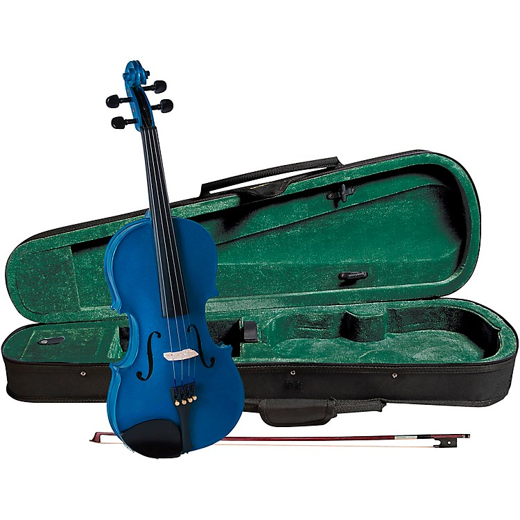 Cremona SV-75BU Premier Novice Series Sparkling Blue Violin Outfit 1/2 Outfit