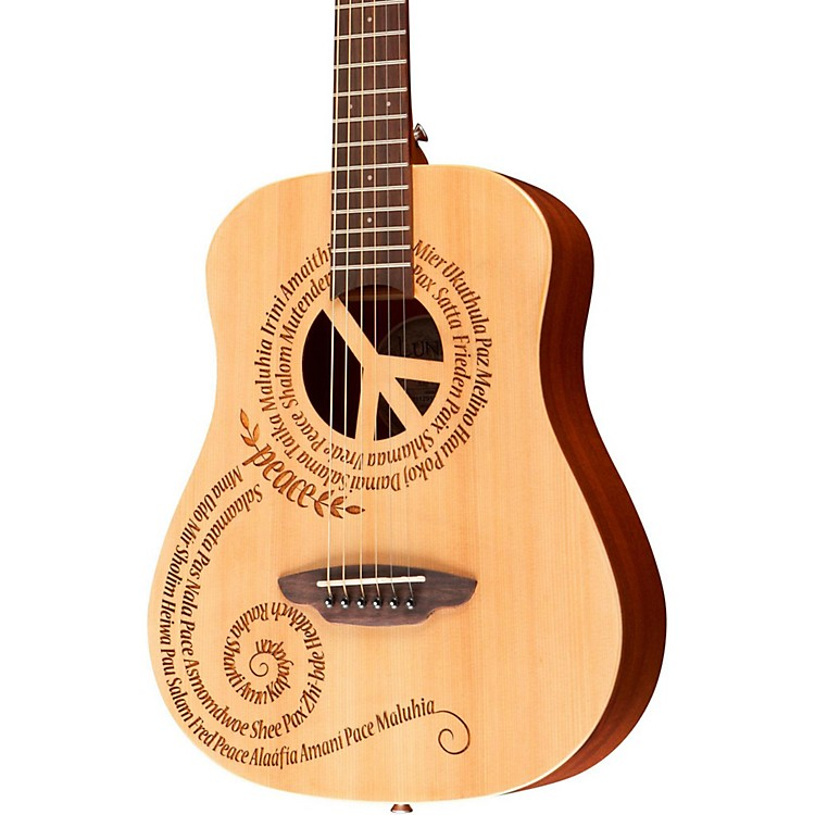 Luna GuitarsSafari 3/4 Size Travel Guitar with Peace DesignMahogany with Satin Finish