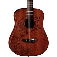 Luna Guitars Safari Tattoo 3/4 Size Travel Guitar Satin Mahogany