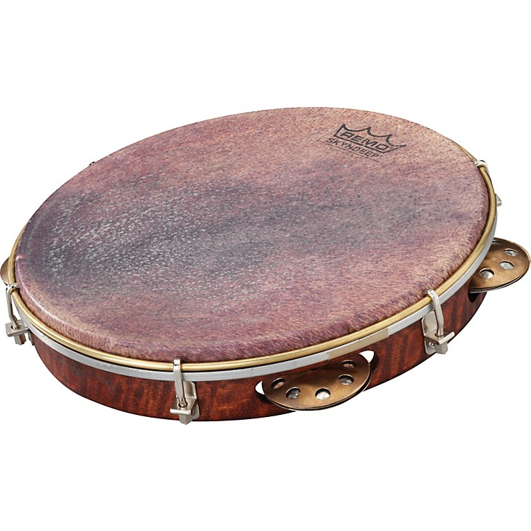 Remo Samba Choro Pandeiro with Brass Jingles Goat Brown 10 In x 1.78 In