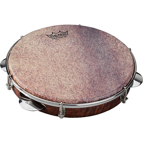 Remo Samba Choro Pandeiro with Chrome Jingles Goat Brown 10 In x 1.78 In