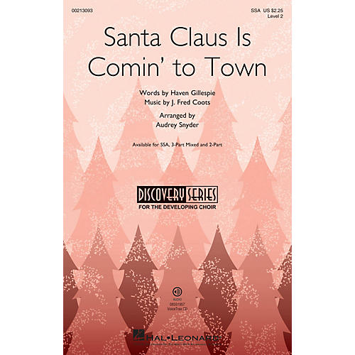Hal Leonard Santa Claus Is Comin' to Town (Discovery Level 2) SSA arranged by Audrey Snyder-thumbnail