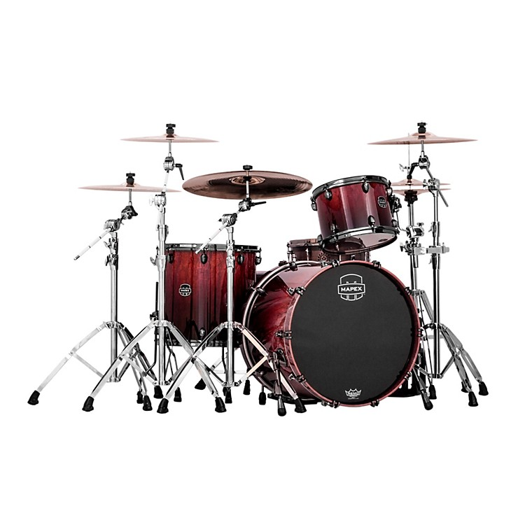 MapexSaturn IV MH 3-Piece Exotic Rock Shell PackCherry Mist Rosewood Burl