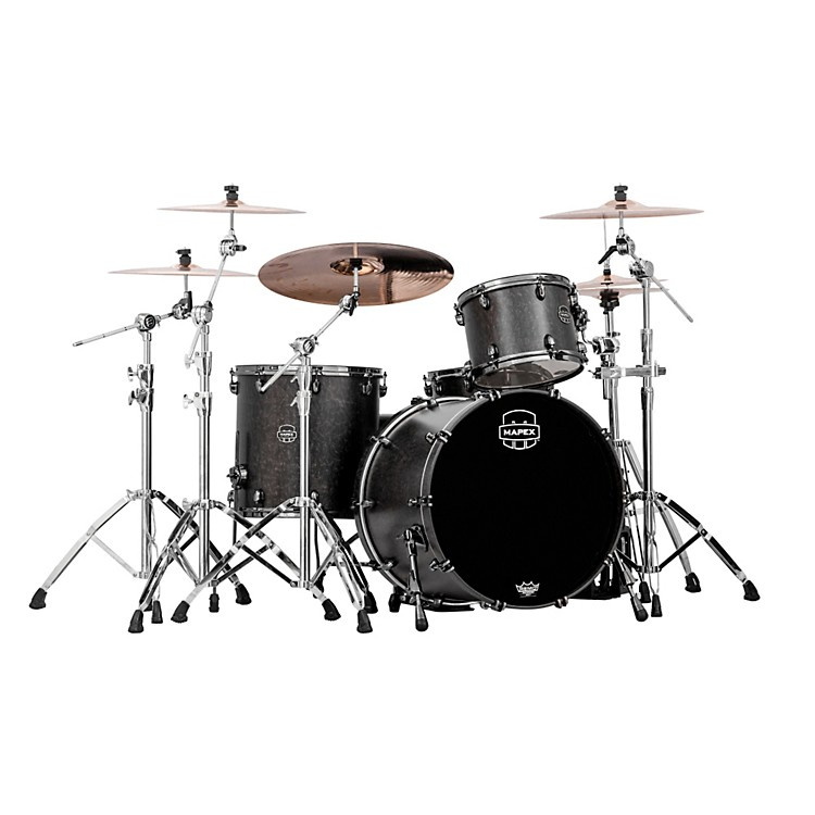 Mapex Saturn IV MH 3-Piece Exotic Rock Shell Pack Satin Black Maple  Burl