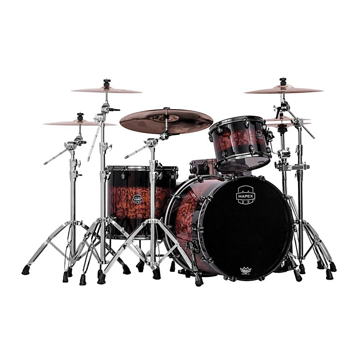 Mapex Saturn IV MH 3-Piece Exotic Rock Shell Pack Transparent Ash Burl Burst