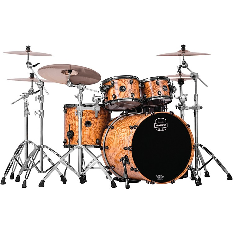 Mapex Saturn IV MH 4-Piece Rock Shell Pack Short Toms Deep Bass Natural Ash Burl