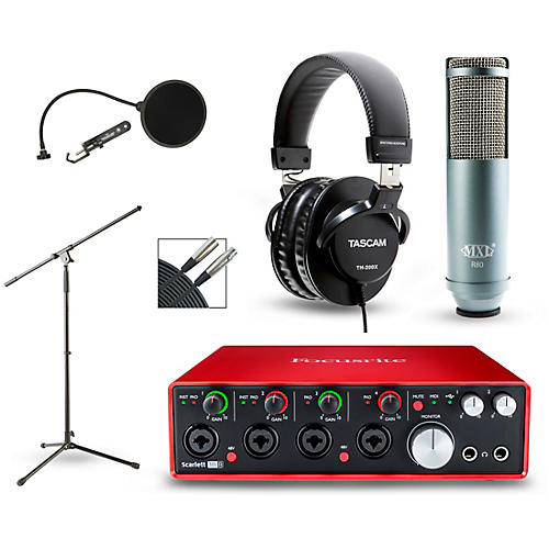 Focusrite Scarlett 18i8 Recording Package with R80 Ribbon Microphone and TH-200X Headphones-thumbnail