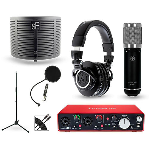Focusrite Scarlett 2i2 Recording Package with Sterling ST59 and  Audio-Technica ATH-M50X-thumbnail