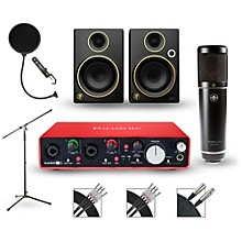 Focusrite Scarlett 2i4 Recording Package with Sterling ST51 and Mackie Limited Edition CR3 Pair