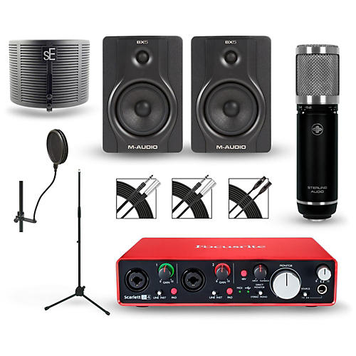 Focusrite Scarlett 2i4 Recording Package with Sterling ST59 and M-Audio BX5 Pair-thumbnail
