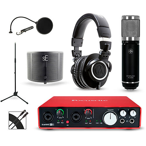 Focusrite Scarlett 6i6 Recording Package with Sterling ST59 and Audio-Technica ATH-M50X