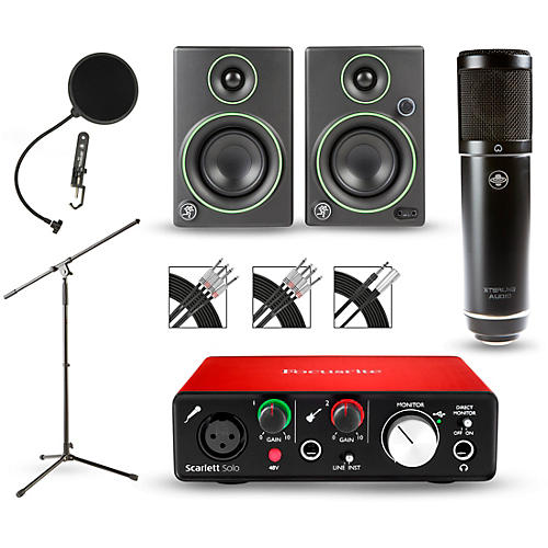 Focusrite Scarlett Solo Recording Package with Sterling ST51 and Mackie CR3 Pair-thumbnail