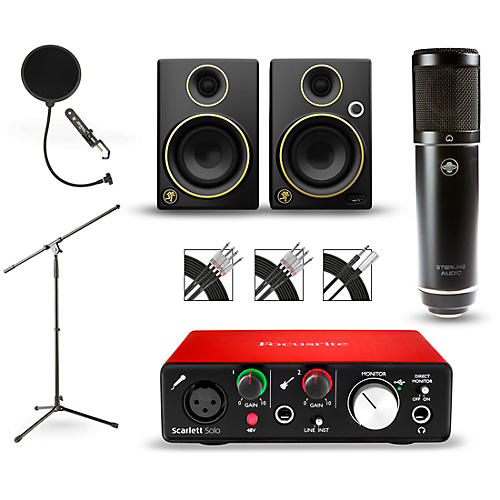Focusrite Scarlett Solo Recording Package with Sterling ST51 and Mackie Limited Edition CR3 Pair-thumbnail
