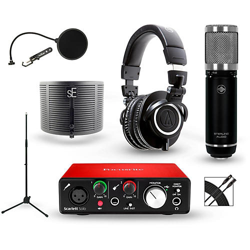 Focusrite Scarlett Solo Recording Package with Sterling ST59 and Audio-Technica ATH-M50X-thumbnail