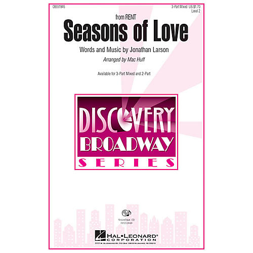 Hal Leonard Seasons of Love (from Rent) 2-Part Arranged by Mac Huff