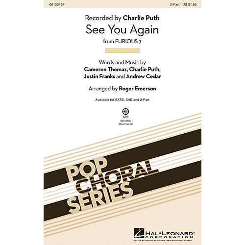 Hal Leonard See You Again 2-Part by Charlie Puth arranged by Roger Emerson-thumbnail