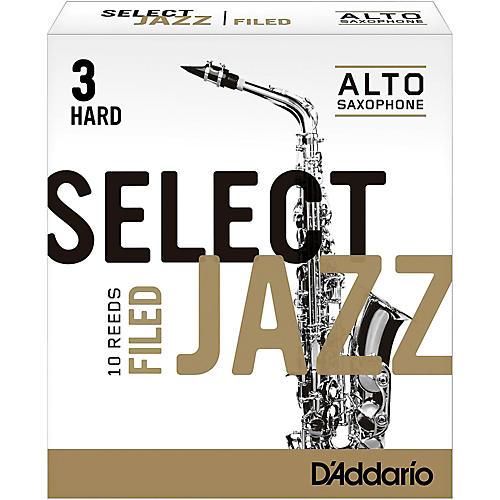 D'Addario Woodwinds Select Jazz Filed Alto Saxophone Reeds Strength 3 Hard Box of 10