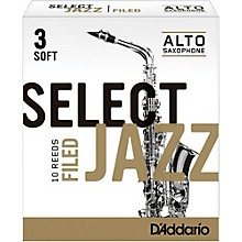 D'Addario Woodwinds Select Jazz Filed Alto Saxophone Reeds Strength 3 Soft Box of 10