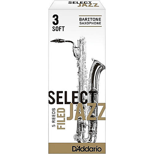 D'Addario Woodwinds Select Jazz Filed Baritone Saxophone Reeds Strength 3 Soft Box of 5