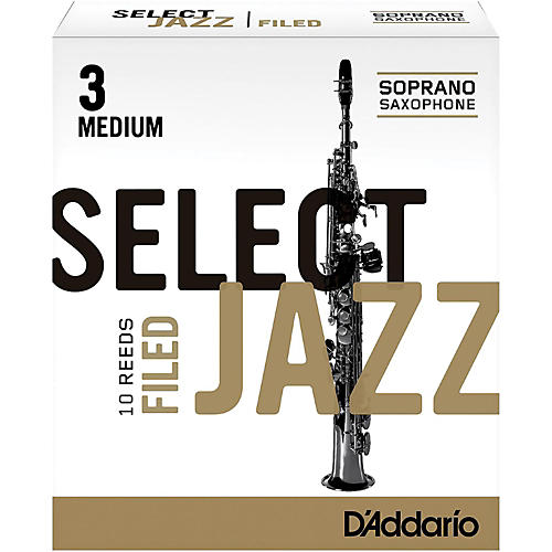 D'Addario Woodwinds Select Jazz Filed Soprano Saxophone Reeds Strength 3 Medium Box of 10