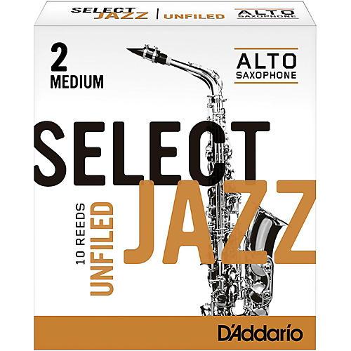 D'Addario Woodwinds Select Jazz Unfiled Alto Saxophone Reeds Strength 2 Medium Box of 10