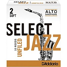 D'Addario Woodwinds Select Jazz Unfiled Alto Saxophone Reeds Strength 2 Soft Box of 10