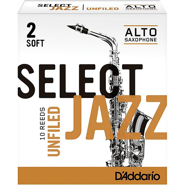 Rico Select Jazz Unfiled Alto Saxophone Reeds Strength 2 Soft Box of 10