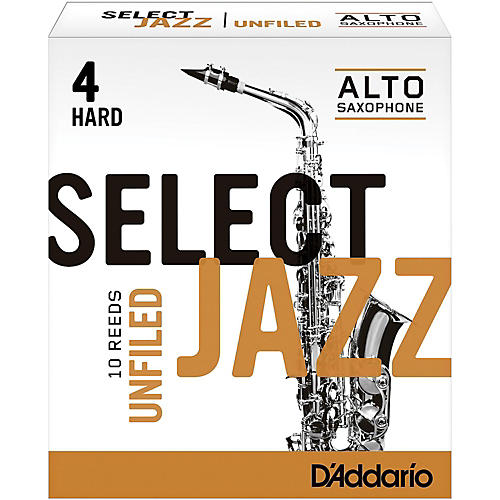 D'Addario Woodwinds Select Jazz Unfiled Alto Saxophone Reeds Strength 4 Hard Box of 10
